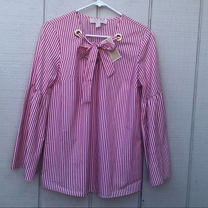 Michael Kors Striped Red and White Long Sleeve